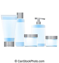 set of blue containers for cosmetic