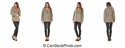 Beautiful model in fur coat