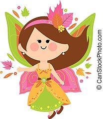 Autumn fairy - Vector Illustration of a beautiful autumn...