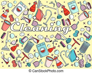 Cleaning vector illustration - Cleaning line art design...