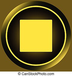 Icon yellow stop symbol - Icon with the button of a stop of...