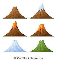 Mountain with Volcano, Forest and Snow Set Vector...