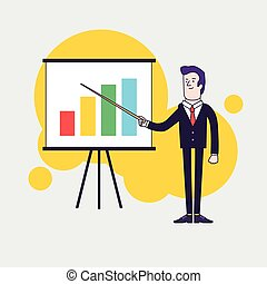 Modern businessman points to flipchart with colored bar...