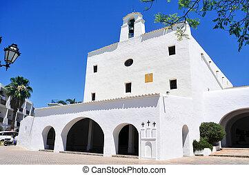 Sant Josep Church, in Ibiza Island, Spain - a view of the...