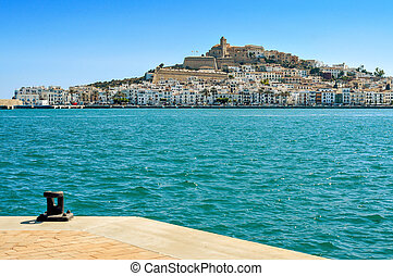 Sa Penya and Dalt Vila districts in Ibiza Town, Spain
