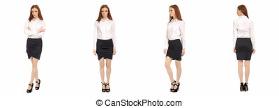 Beautiful teen in short skirt isolated on white