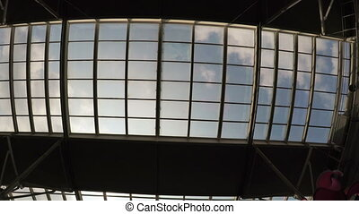 Transparent ceiling shopping center - Camera on steadicam...