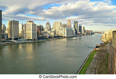East River - aerial view. - View of East River from the...