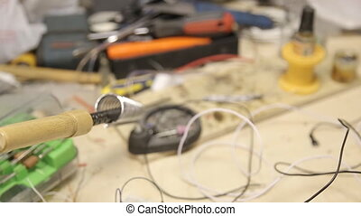 soldering iron on the table