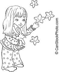 Cute little girl with funny stars. Digital stamp.