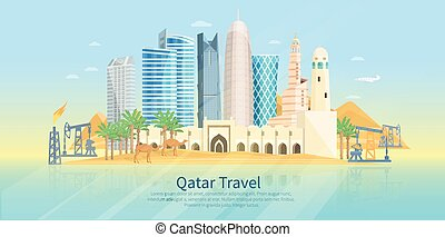 Qatar Skyline Flat Poster - Qatar skyline flat poster with...