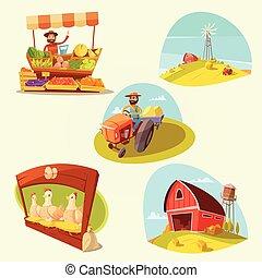 Farm Cartoon Set - Farm cartoon set with farmer and products...