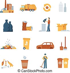 Garbage Color Icons - Concept icons set about garbage...