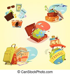 Travel Cartoon Set - Travel cartoon set with map luggage and...