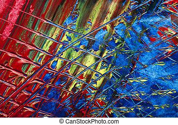 Impasto paint combed - formatfüllende Ansicht einer mit...