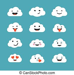 Clouds cute emoji, smily emoticons faces set - Clouds cute...