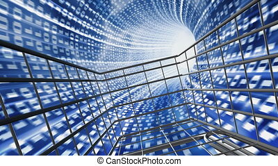 Online shopping - Shopping cart in abstract digital tunnel....
