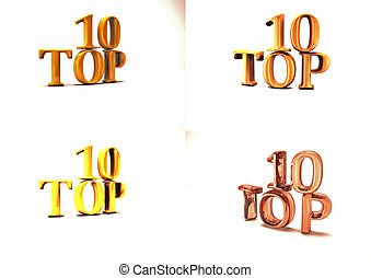 Inscription of Top 10 set of pictures 3D illustration - Set...