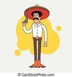 Mexican bandit with sombrero, mustache and big pistol.