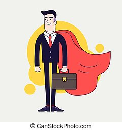 Young serious businessman superhero with leather briefcase and red cloak. Businessman with leadership skills.