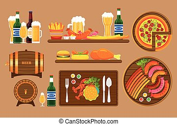 Beer set 1 - Stock vector illustration set beers, beer mugs,...