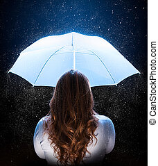 woman with umbrella under stardust