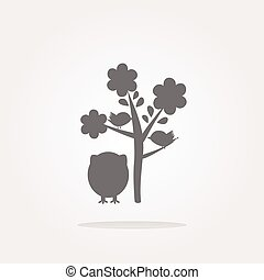 vector button with owl and tree, isolated on white. Web Icon Art. Graphic Icon Drawing