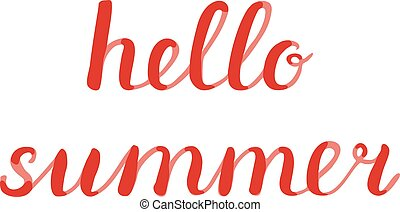Hello summer lettering. Brush hand lettering. Great for...