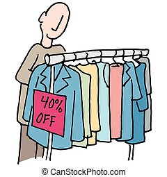 Man shopping for clothes - An image of a Man shopping for...