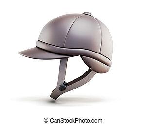 Helmet for horseriding isolated on white background. Side...