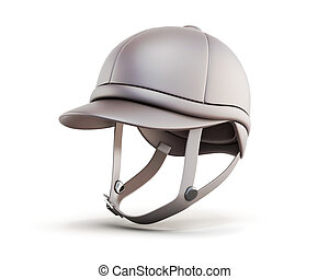 Jockey equestrian helmets isolated on white background 3d...