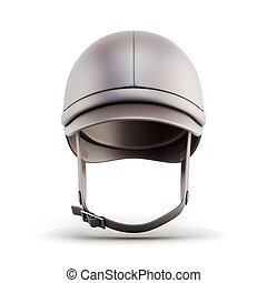 Helmet for riding isolated on white background 3d rendering...