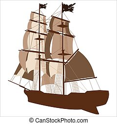 sailing ship02 - brown silhouette of sailing ship on white...