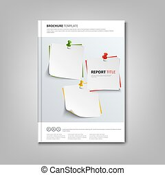 Brochures book or flyer with note papers and pins template...