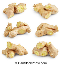 Set of ginger isolated on white background