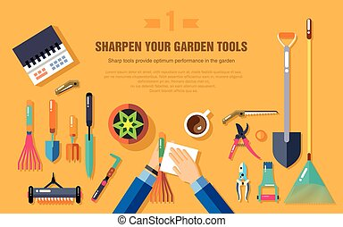 SHARPEN YOUR GARDEN TOOLS - Stock vector illustration set of...