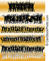 group people - collection of many people group-silhouette