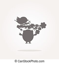 vector button with owl, bird and tree, isolated on white. Web Icon Art. Graphic Icon Drawing