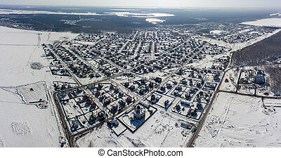 Ozhogino settlement in the suburb of Tyumen.Russia
