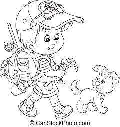 Boy backpacker - Black and white vector illustration of a...
