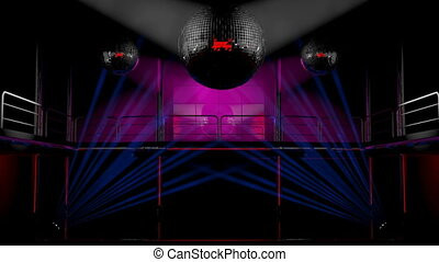 Night disco club lights - Night club interior with colorful...