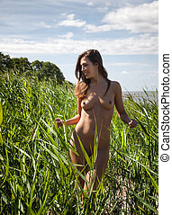 nude woman on nature background - Beautiful young nude woman...