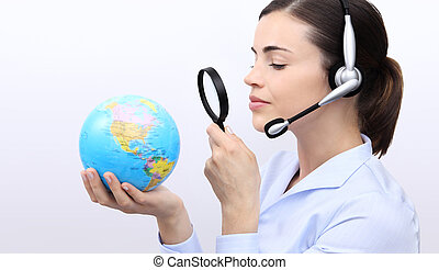 concept search, customer service operator woman with...