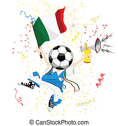 Italy Soccer Fan with Ball Head