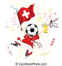 Switzerland Soccer Fan with Ball Head.