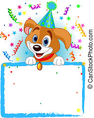 Baby Dog Birthday - Adorable Puppy Wearing A Party Hat,...