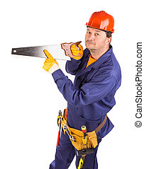 Worker with hand saw.