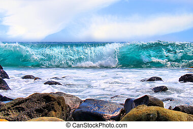 Ocean - This is a photo of blue ocean and sky with clouds