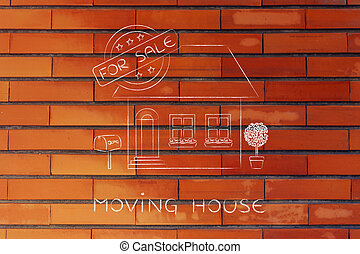 house with 5 stars rating and For Sale sign, moving house -...