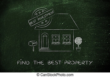 house with 5 stars rating and Best Investment sign, best...